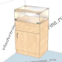 Прилавок стеклянный с высокой тумбой, 500х400х850
