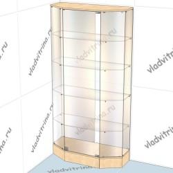 Витрина шестигранная пристенная на подиуме, 1000х400х2000