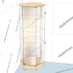 Витрина шестигранная на подиуме, 800х700х2000