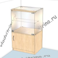Прилавок стеклянный с тумбой, 500х400х850