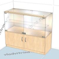 Прилавок стеклянный с тумбой, 1000х400х850