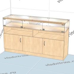 Прилавок стеклянный с высокой тумбой, 1500х400х850