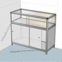 Прилавок-витрина на основе алюминиевого профиля, 1000х440х850