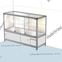 Прилавок-витрина на основе алюминиевого профиля, 1200х440х850
