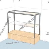 Стойка с стеклянными полками на подиуме, 1000х400х900